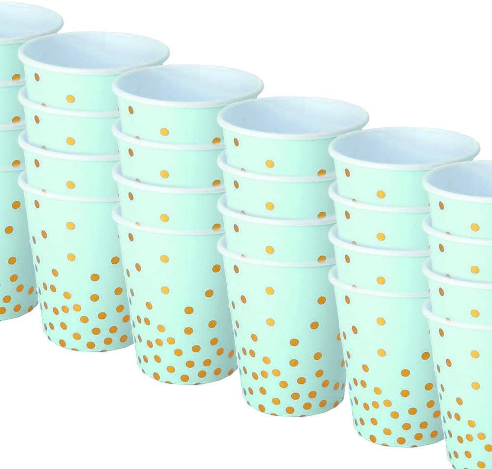 Partygeschirr Gold und Aquamarin 72 Pappbecher Papierbecher Einweggeschirr Hochzeit Space Home Trinkbecher Kindergeburtstag Geschirr Einwegbecher