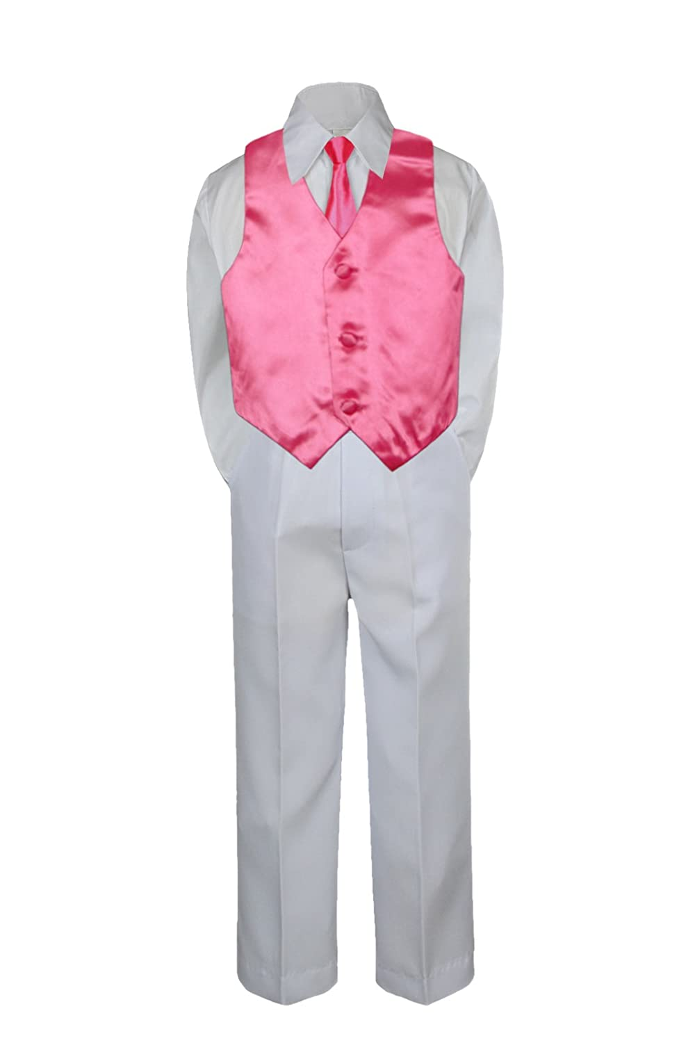 4pc Baby Toddler Boy Kid Formal Suit White Pants Shirt Vest Necktie Set 5-7