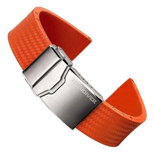 15a94c91eea ZULUDIVER® 400 Italian Rubber Dive Watch Strap Orange 22mm  Amazon.co.uk   Watches