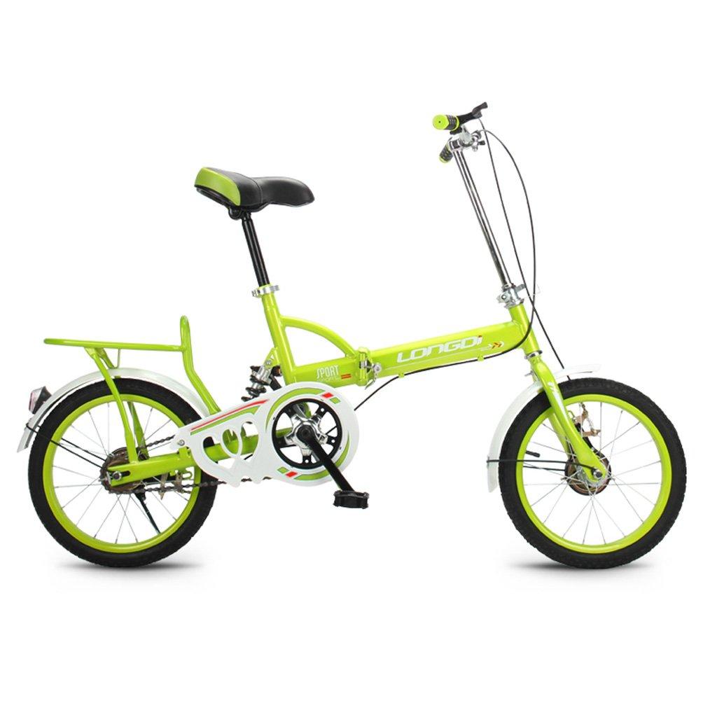 子供用自転車16インチキッドバイク高炭素鋼折りたたみ自転車4-7歳の男性と女性のシングルスピードショックアブソーバ自転車、ブラック/ブルー/ピンク/グリーン (Color : Green)   B07CYHLXXX