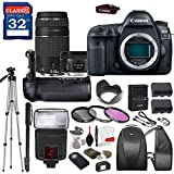Canon EOS 5D Mark IV DSLR Camera with Canon EF 50mm f/1.8 STM Lens & Canon EF 75-300mm f/4-5.6 III Lens, TTL Flash, Tripod, Mono-Pod, Battery Grip + Professional Accessory Bundle
