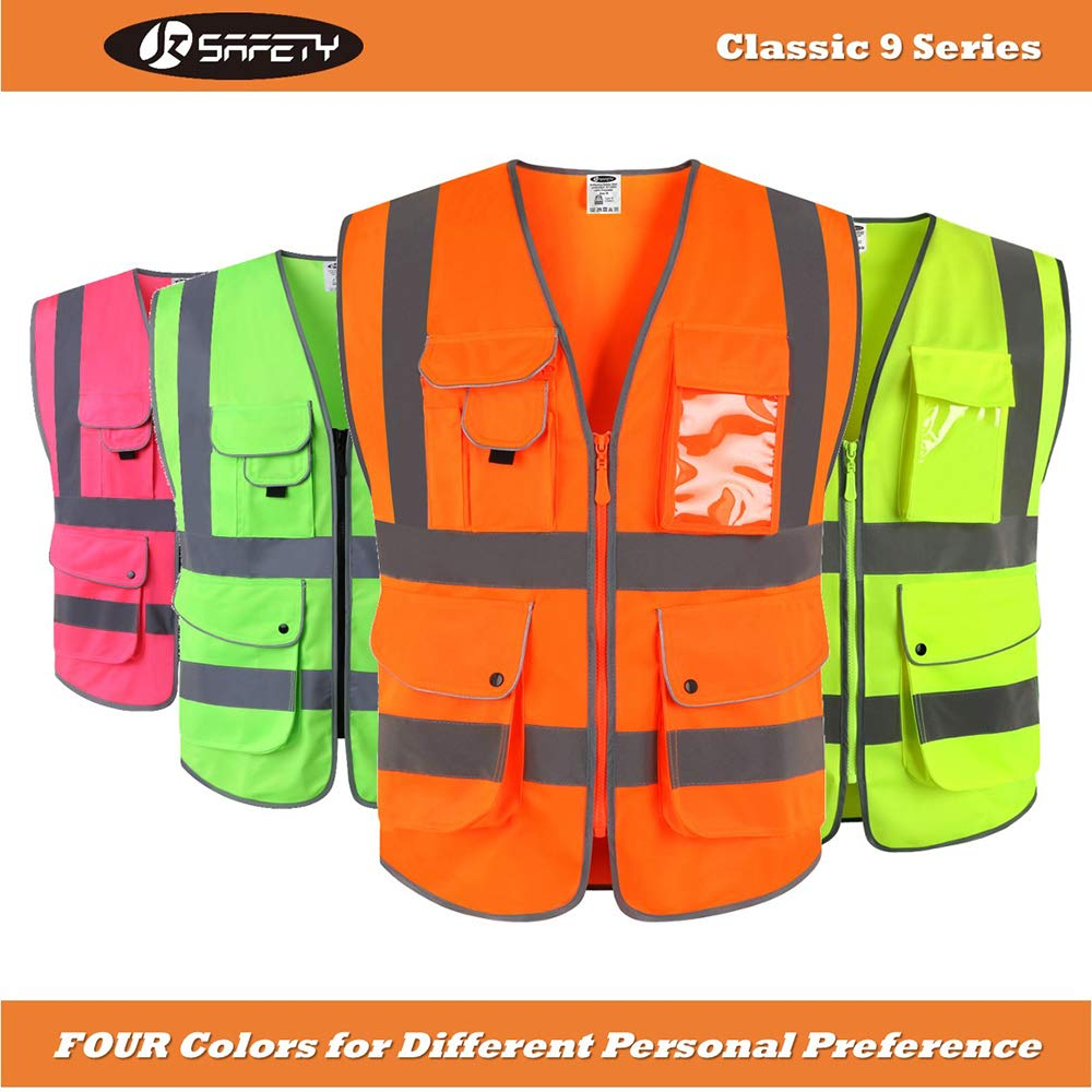 XX-Large Yellow Meets ANSI//ISEA Standards JKSafety 9 Pockets Class 2 High Visibility Zipper Front Safety Vest with Reflective Strips
