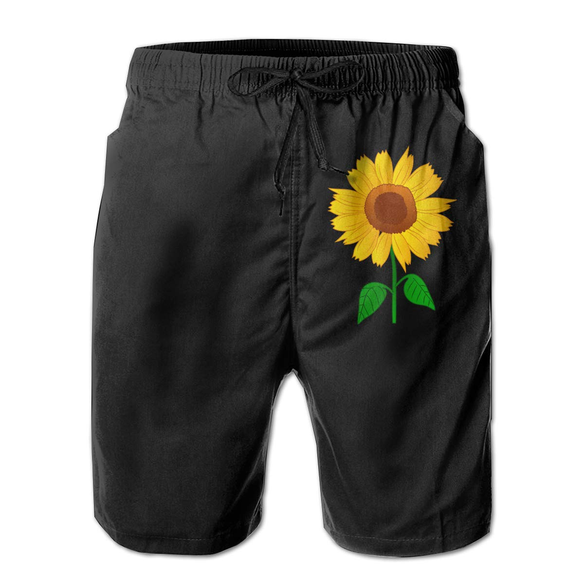 Xk7@KU Mens Casual Swim Trunks Polyester Sunflower Clipart Board Shorts with Pockets