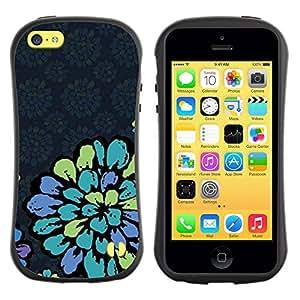 LASTONE PHONE CASE / Suave Silicona Caso Carcasa de Caucho Funda para Apple Iphone 5C / Petal Vintage Retro Wallpaper Blue