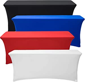 Deluxe Stretch Fit Tablecloths 6 Foot Custom Logo Available in Blue Black Red & White (Stretch, White)