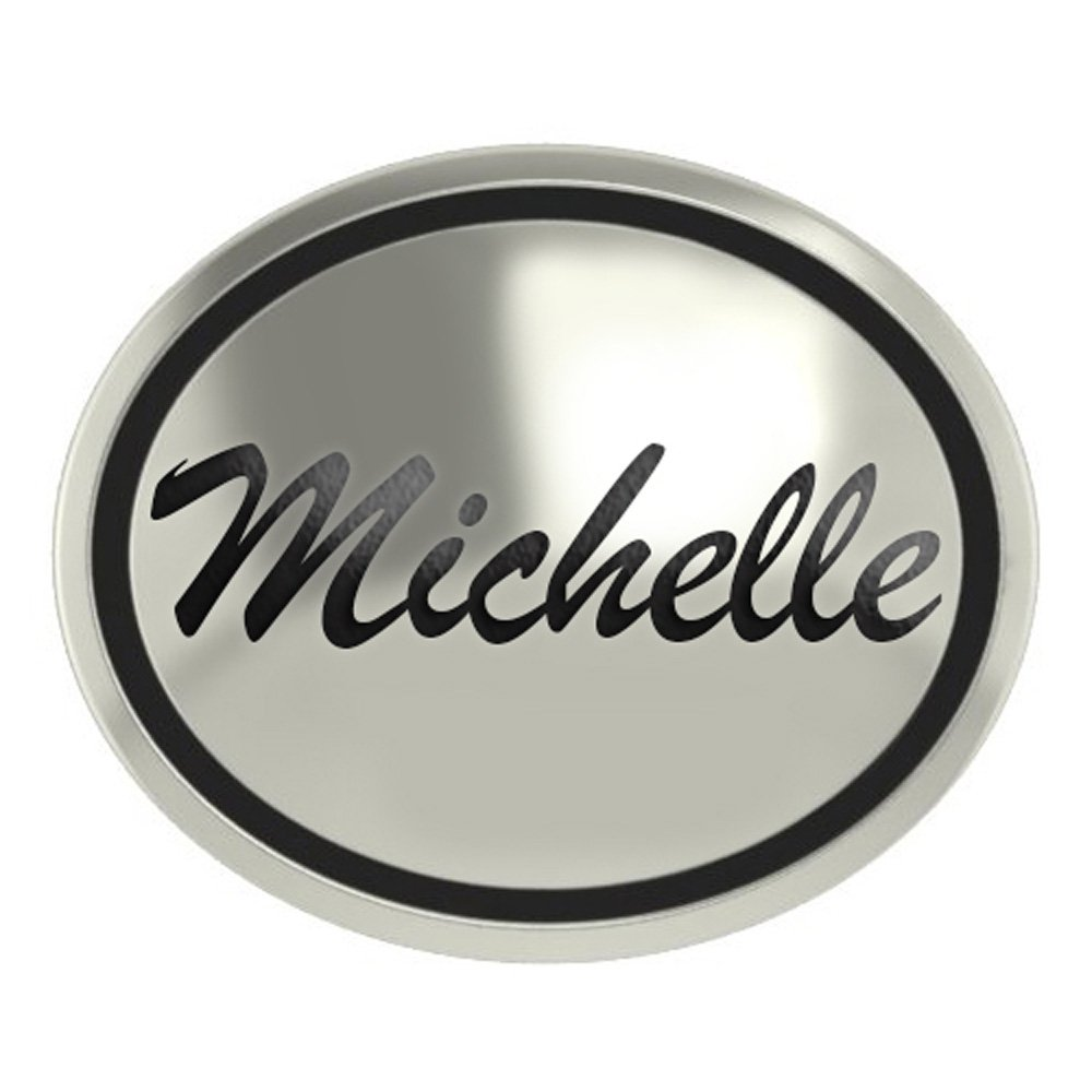 College Jewelry Michelle Sterling Silver Antiqued Oval Bead in Script Font
