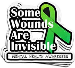 3 PCs Stickers Mental Health Awareness 4 × 3 Inch Die-Cut Decals for Laptop Window