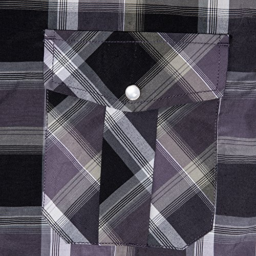 56d4f5f4be0 Coevals Club Men's Long Sleeve Casual Western Plaid Snap Buttons Shirt