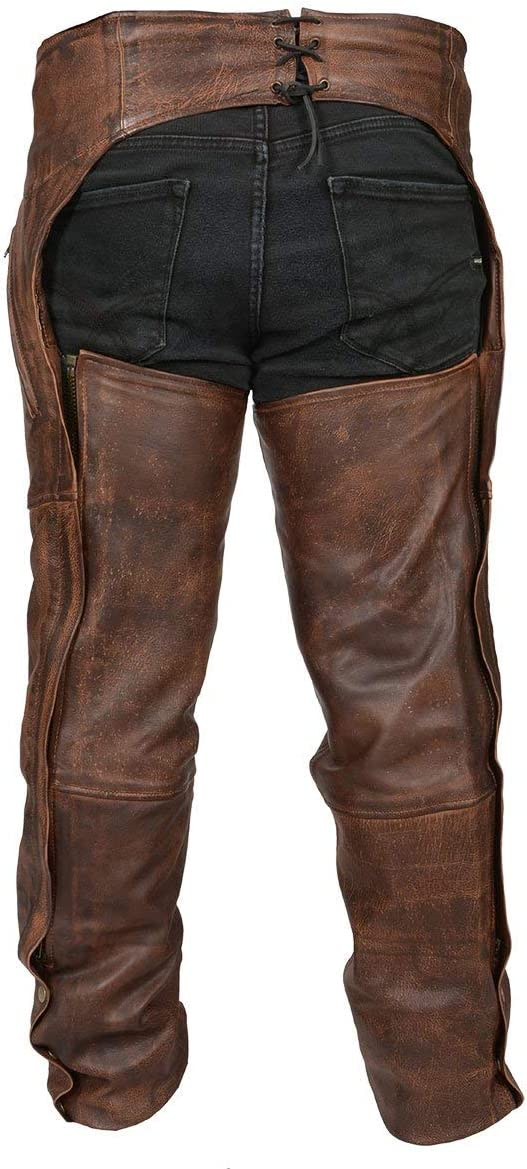 High Mileage Vintage Brown Leather Chaps