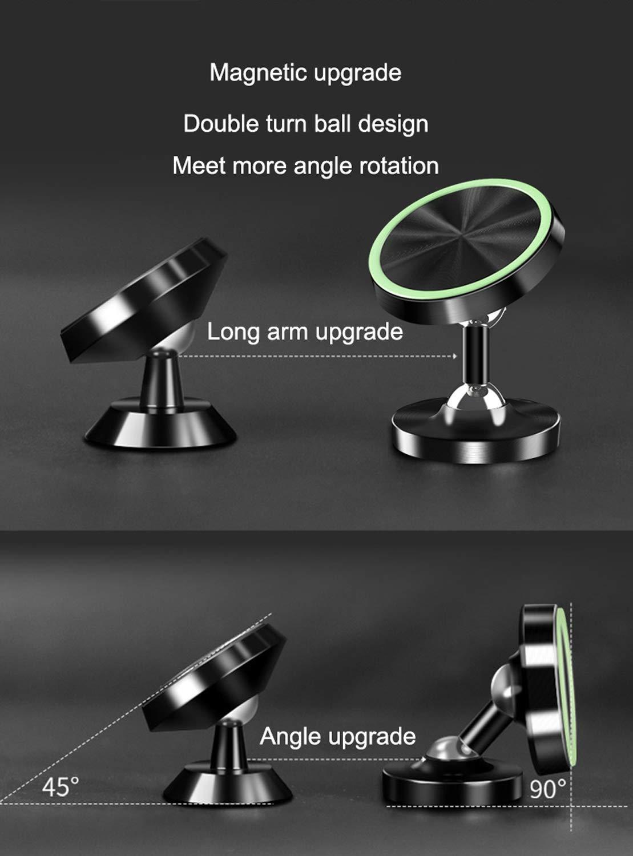Viedouce 2 Packs Supporto Auto Smartphone Magnetico Universale,720 Gradi di Rotazione Porta Cellulare Auto,Supporto Magnetico da Auto per iPhone Samsung Huawei e GPS