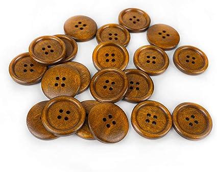 10 x 25mm wooden  buttons printed handmade
