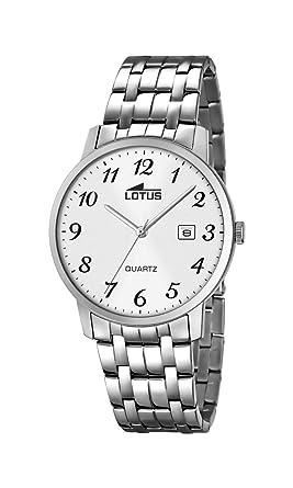 Lotus Reloj de Hombre de Cuarzo con Esfera Analógica Blanca Pantalla y Plata Pulsera de Acero Inoxidable 18175 - /1: Amazon.es: Relojes