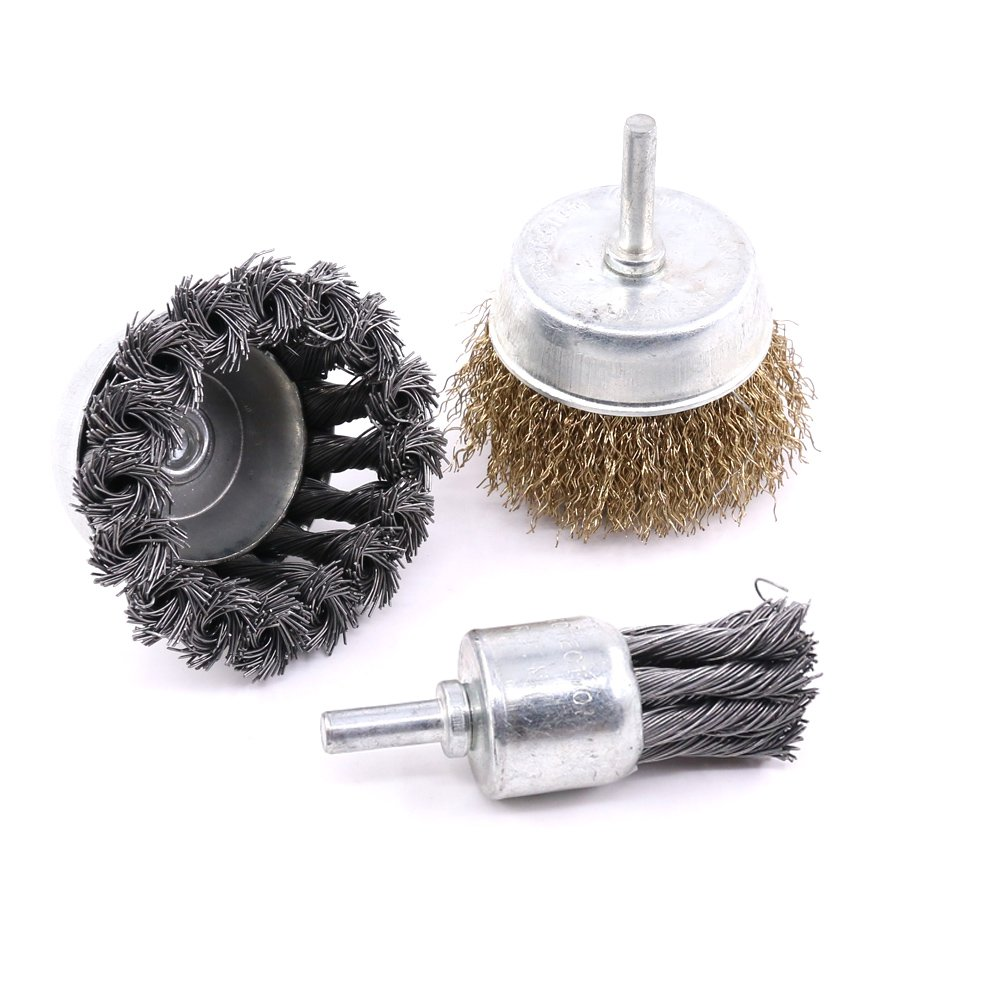 Glarks 3 Pack Knotted /& Crimped Cup Steel Wire Wheels Brush /& Carbon Knot Wire End Brush For Rust removal Corrosion and Scrub Surfaces