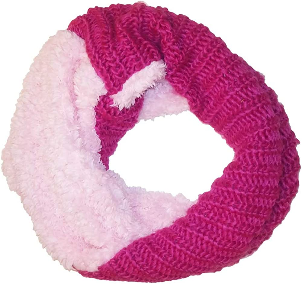 Girls Accessories Pink Faux Fur Cable Knit Infinity Loop Scarf One Size