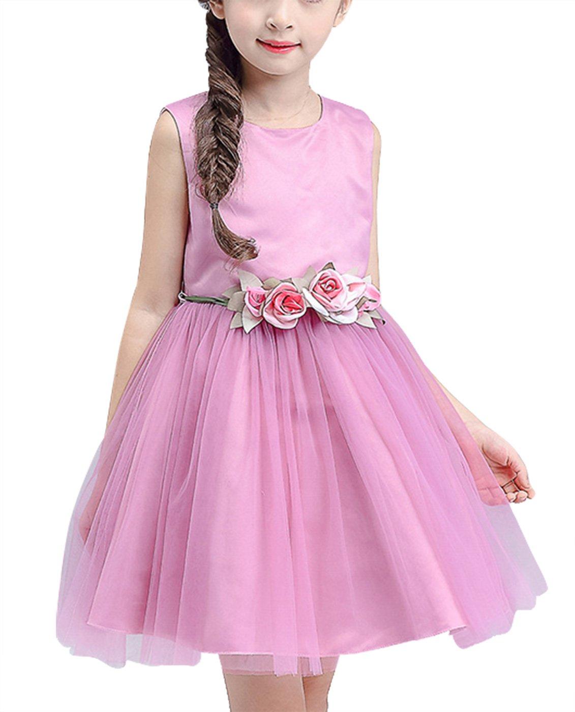 Feoya - Vestido de Flores Boda de Niñas Elegante Vestido de Princesa ...
