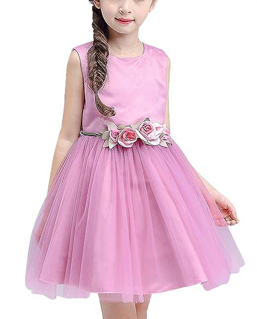 Feoya - Vestido de Flores Boda de Niñas Elegante Vestido de Princesa Infantil Ceremonia Fiesta de