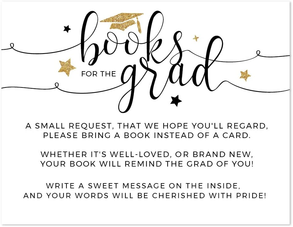 Andaz Press White and Gold Glittering Graduation Party Collection, Books for Grad Request Cards, 20-Pack, Games Activities and Decorations