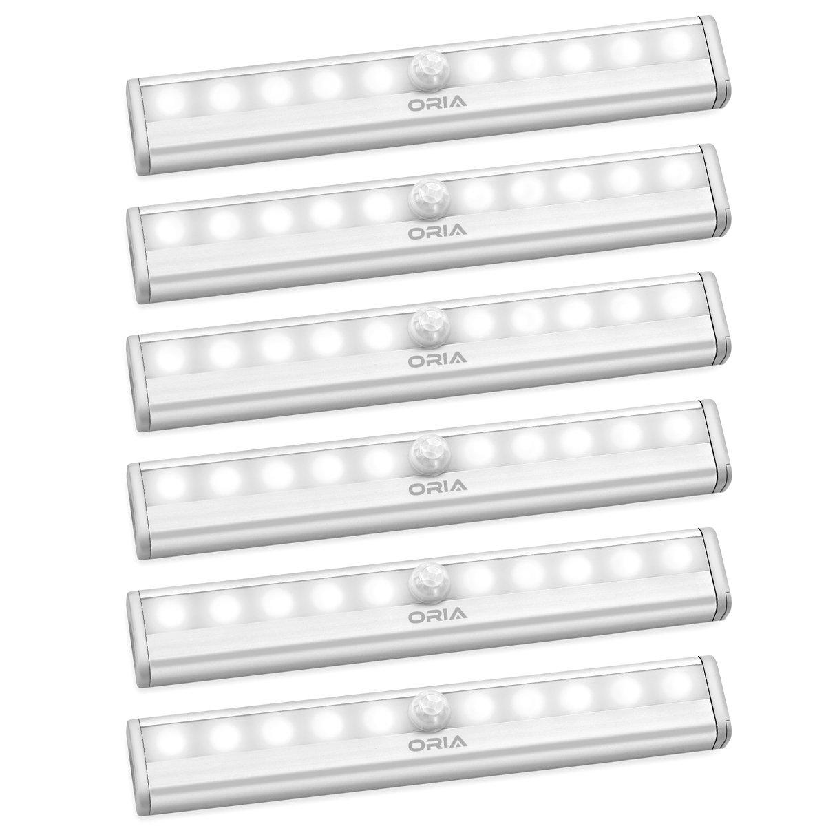 Oria Motion Sensor Light Bar (20 LED), 3 Pack Wardrobe Light, LED Closet Night Light with Stick-on Magnetic Strip, 3 Light Modes, USB Charging, for closet, Stairs, Kitchen, Stair, Washroom etc.