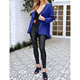 GIFC Womens Casual Solid Open Cape Coat Loose Long