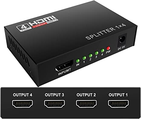 1x4 Hdmi Splitter 1 in 4 Out Powered Adapter with Full Ultra HD 1080P 4K//2K and 3D Resolutions YUANLY HDMI Splitter