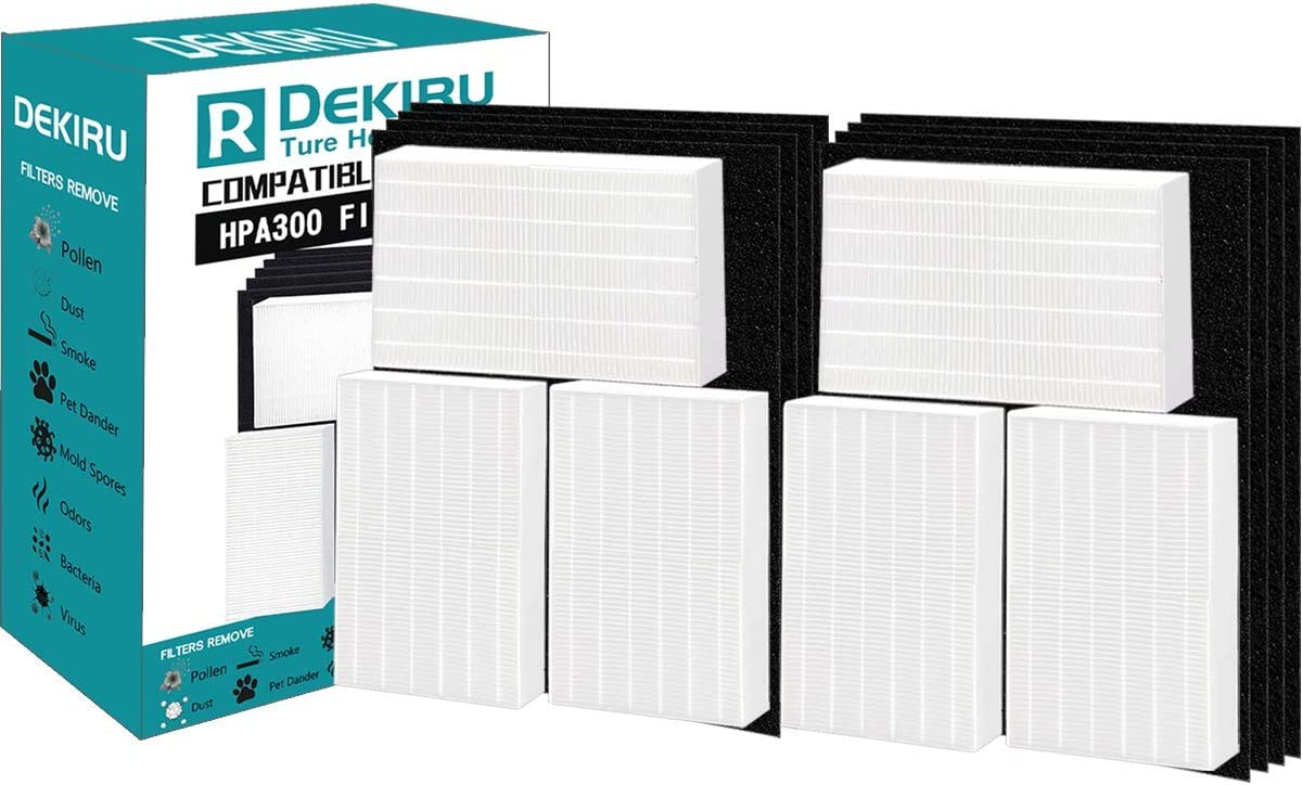 DEKIRU Replacement Honeywell Air Purifier Filter, 12 Pack HPA300 Filters for Honeywell Including 6 True HEPA Filter and 6 Precut Activated Carbon Filters Fit HW Air Purifier 300 and Advanced Filters R