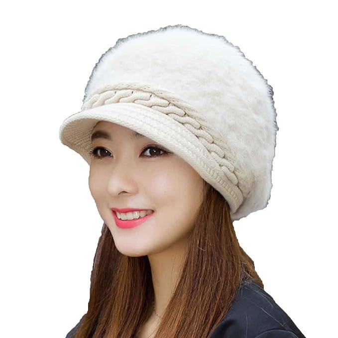 Women Autumn Winter Hats Rabbit Fur Newsboy Caps Beret Hat Ladies Solid  Knitted Hats 3e42d647238