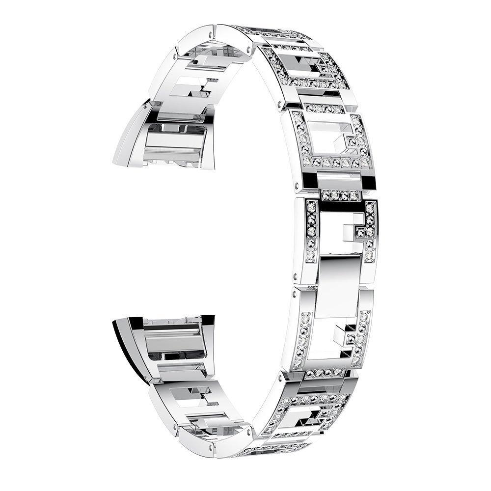 For Fitbit Charge 2バンド、ステンレススチール交換クリスタルラインストーンジュエリーでスマートウォッチストラップ手首バンドfor Fitbit Charge 2 HR シルバー B078RTWXN1 シルバー シルバー