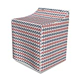 Lunarable Nautical Washer Cover, Curvy Swirled Stylized Ocean Waves Pattern Horizontal Marine Sea Theme, Suitable for Dryer and Washing Machine, 29'' x 28'' x 40'', Navy Blue Red White
