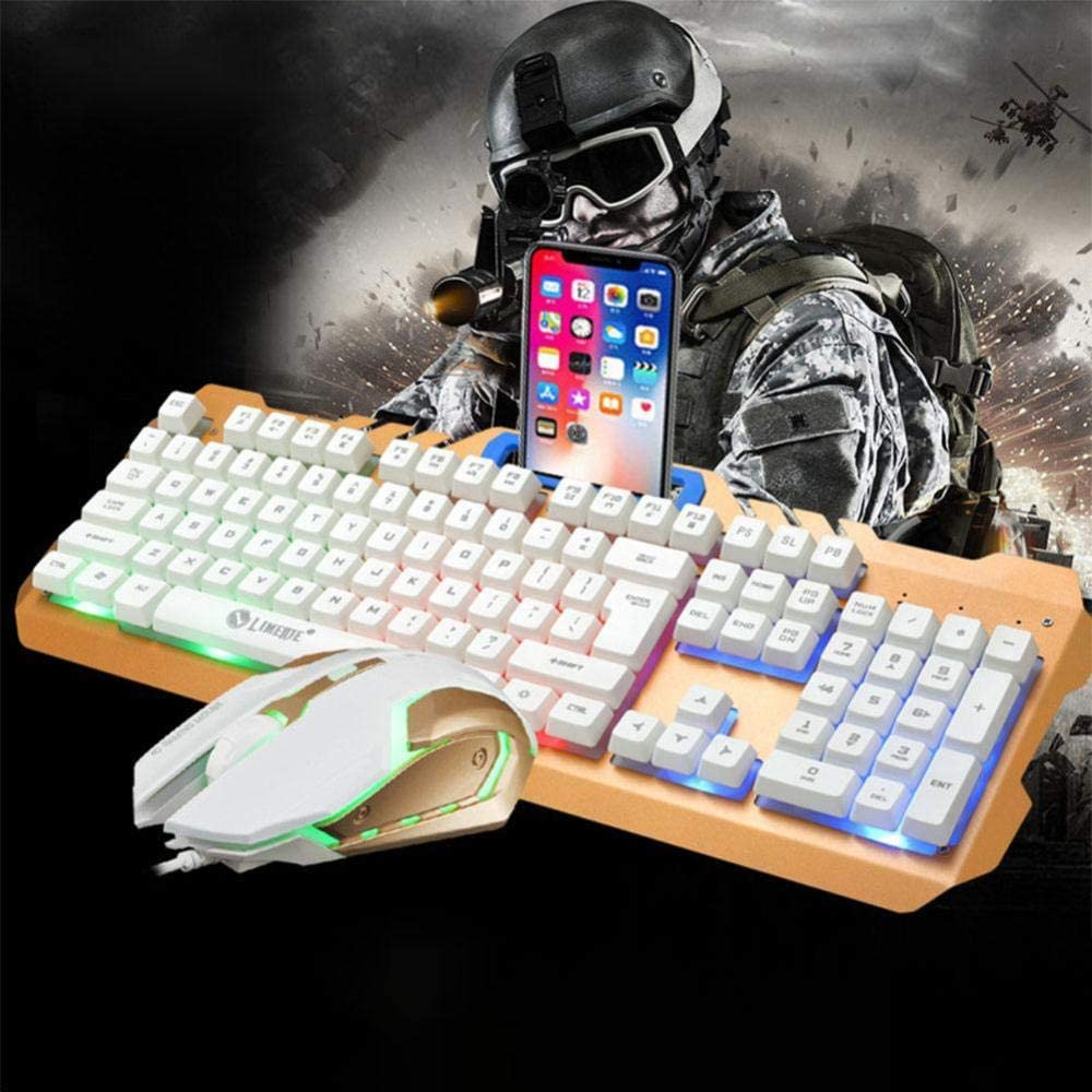 Laptop Keyboard White Rainbow Light Mouse Set Mechanical Keyboard and Mouse with a USB Cable USB PC Player Suspension