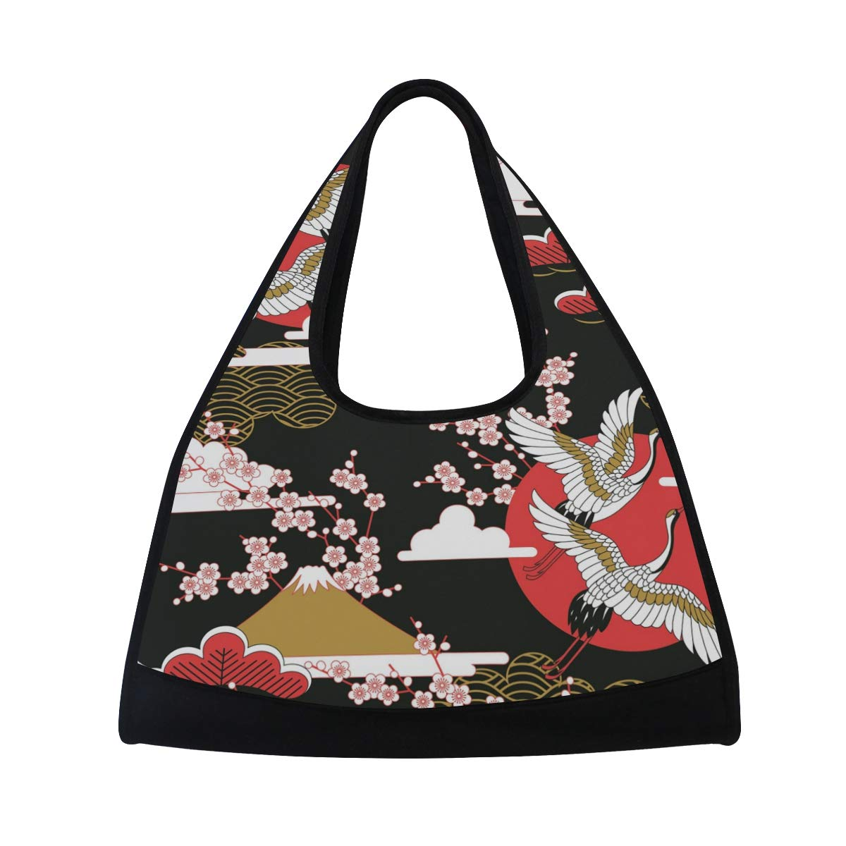 Cherry Blossom And Red-Crowned Crane Women Sports Gym Totes Bag Multi-Function Nylon Travel Shoulder Bag