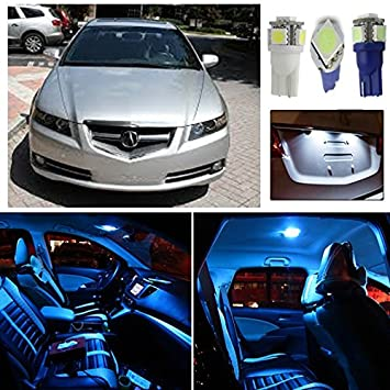 Partsam Ice Blue 12pcs Interior LED Package + License Plate Lights For Acura  TL 2004