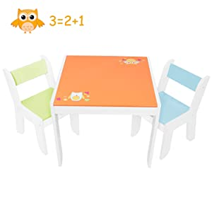Labebe Wooden Activity Table Chair Set, Orange Owl Toddler Table for 1-5 Years, Baby Table Set/Toddler Play Table/Baby Activity Table/Kid Table Cover/Kid Table Toy/Table/Toddler Table/Kid Desk Chair