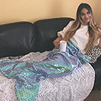 Ataya Mermaid Tail Blanket for Adults,Colorful Sequins...