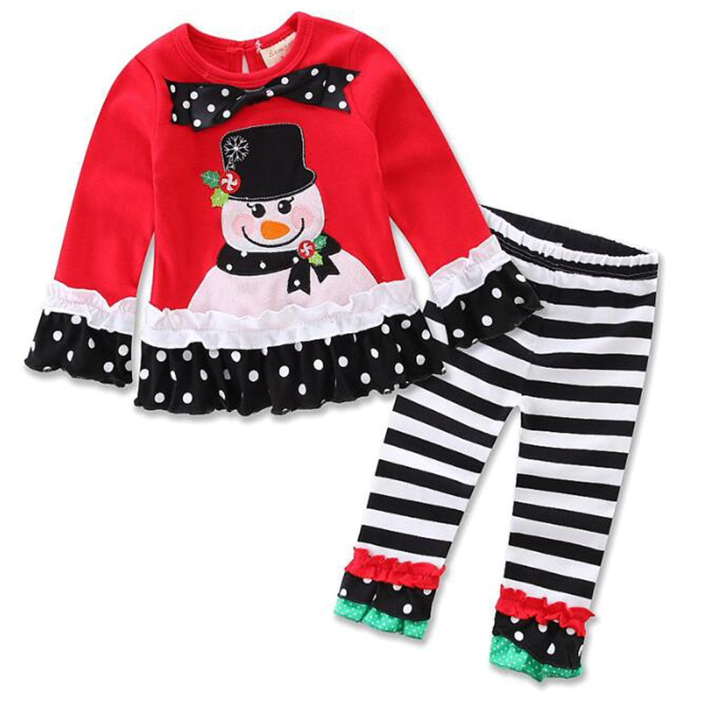 SUPEYA Toddler Baby Girls Christmas Santa Print Long Sleeve Shirt Pants Outfit Set