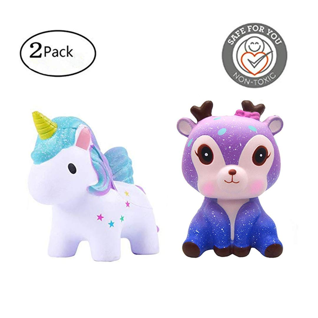 Acomon Squishies Slow Rising Jumbo Toys Colored Unicorn Deer 2-Pack Kawaii Cute Creamy Scent Party Stress Reliever Gifts Toy for Kids Adult
