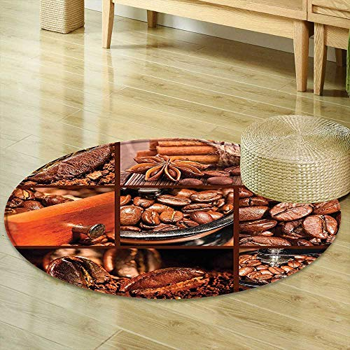 - Mikihome Round Rug Kid Carpet Brown Antique Grinder Coffee Beans Chocolate Cocoa and Cinnamon Vintage Macro Collage Brown Orange Home Decor Foor Carpe R-35