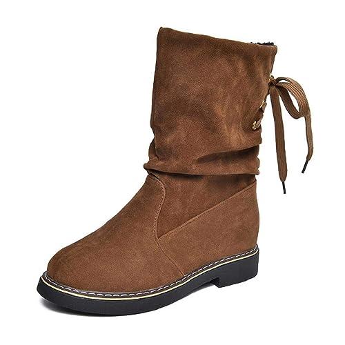 QUICKLYLY Botas de Mujer,Botines para Adulto,Zapatos Otoño/Invierno 2018,Señoras Flock Winter Martim De Nieve De La Pantorrilla Calzado Cálido: Amazon.es: ...