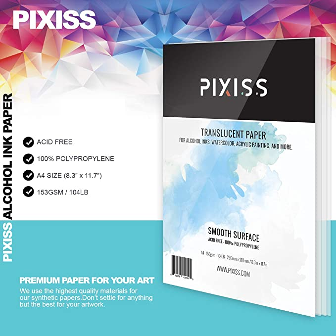 Synthetic Paper A4 8x12 Inches 153gsm Pixiss Heavy Weight Translucent Paper for Alcohol Ink /& Watercolor 210x297mm 25 Sheets - Semi Transparent Translucent White Alcohol Ink Paper