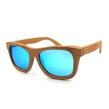 LHHMZ Hombre/Mujer Gafas de Sol de Madera de bambú genuinas polarizadas Gafas de Sol
