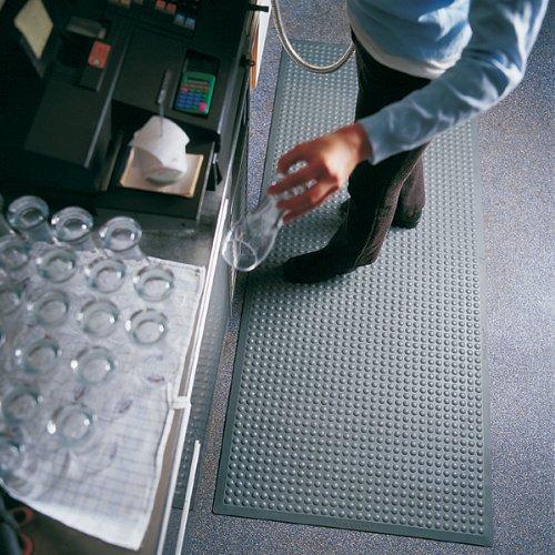 Ergonomische Arbeitsplatzmatte, grau, ca. 80 x 325 cm (Modulsystem), Gummimatte mit Noppen, Höhe 14 mm, aus SBR-Kautschuk, 7 Größen wählbar