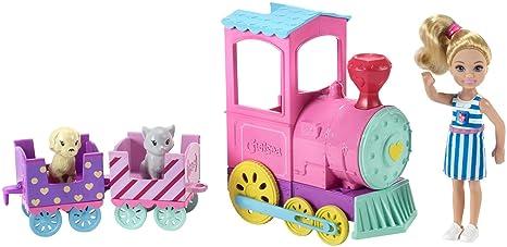 Barbie Muñeca Chelsea y su tren de mascotas, accesorios muñeca (Mattel FRL86)