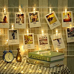 Fairy Lights with Clips for Photos, Dreamiracle16 LED 15ft String Lights for Hanging Photos Pictures and Memos, Perfect for Dorm Bedroom Home Decor