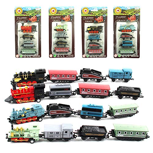 CORPER TOYS Mini Train Toy Die-Cast Pull Back Steam Train Model Set Assorted Styles for Kids Boys - 4 PACKS (16 pieces) (Train Diecast)