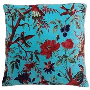 Velvet almohada cubierta decorativa 45cm Bird Blue Print Sofá Cojín Case Indian Art 18 pulgadas