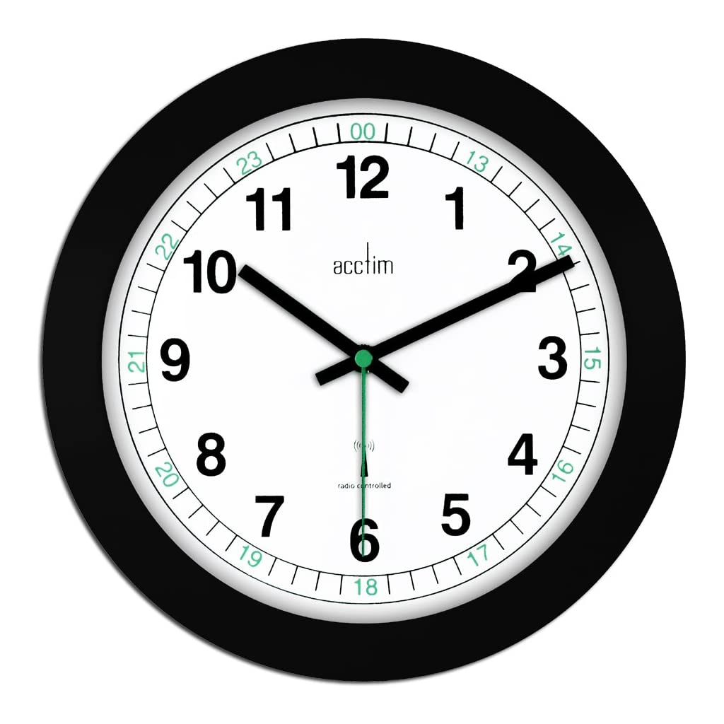 Acctim Milan Radio Controlled Wall Clock Black & White