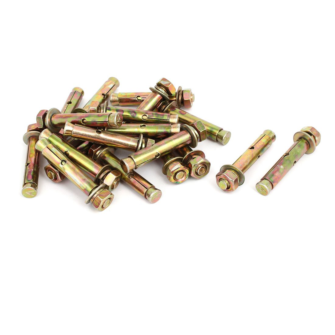 uxcell M10 Dia Thread Hex Nut Sleeve Anchors Expansion Bolt Fastener Bronze Tone 20pcs