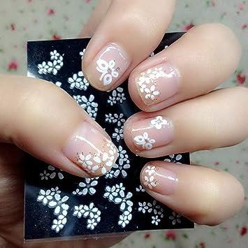 Zeagro 30 Hojas de Pegatinas 3D para decoración de uñas, diseño Floral, Color Blanco: Amazon.es: Hogar