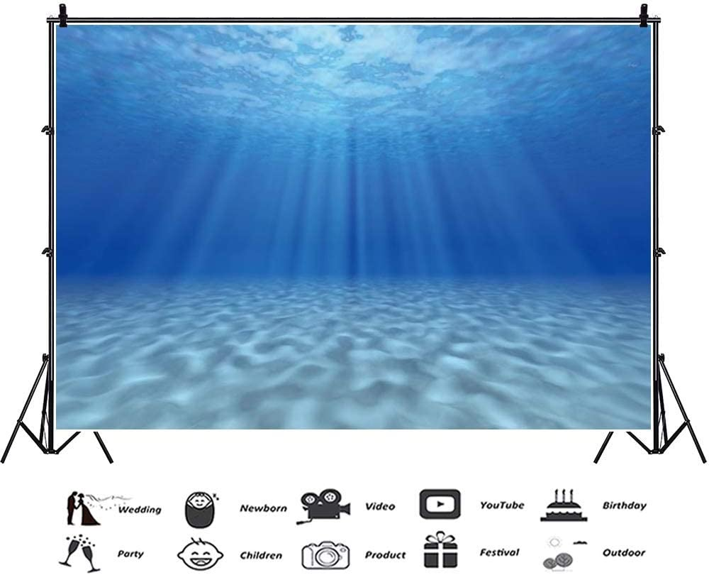 CdHBH Undersea Backdrop 7x5ft Underwater Vinyl Photography Background Blue Ocean Crystal Light Ray Sunlight Nature Beach Manul Adults Family Studio Photo Props Portraits Shoot Decor