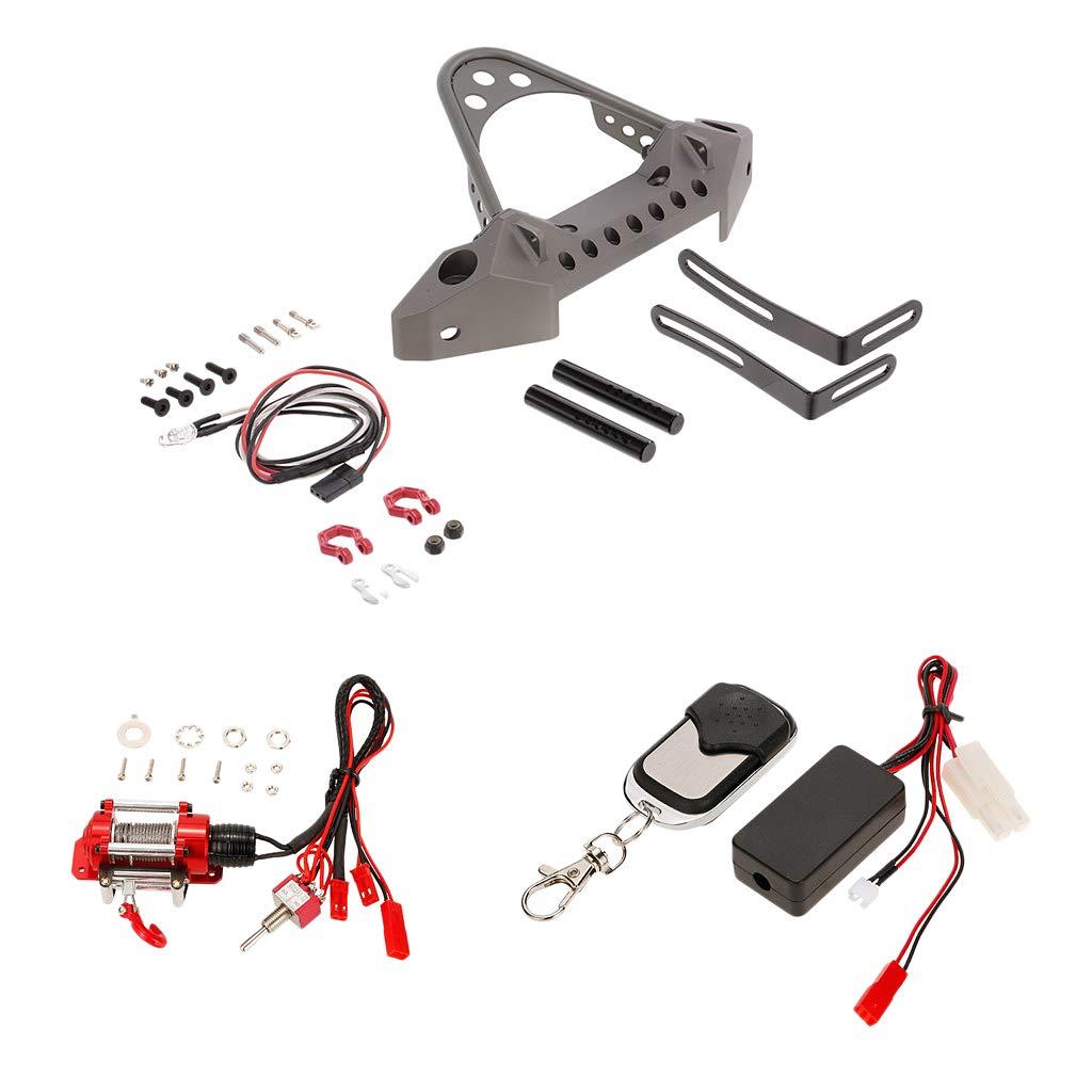 Homyl Frontstoßstange Front Bumper + LED Lichtleiste + Seilzugwinch Fernbedienung für 1/10 RC Crawler