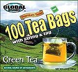 Global Brands Premium 100 Tea Bags with String (Green Tea)